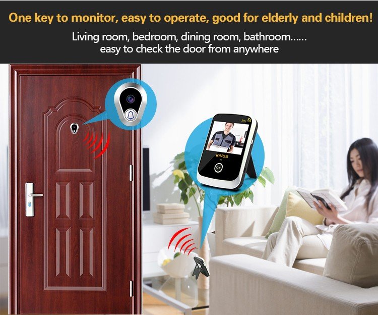 Ring doorbell cat eye camera for multi apartments wireless door peep hole viewer KDB307A+
