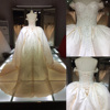 THX7817J Newest 2015 fashion dress luxury royal long tail wedding dress for 2016 / off-shoulder bridal gowns