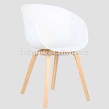 LK509-6 Wholesale cheap wooden legs PP cover emes chinese restaurant plastic dining chair