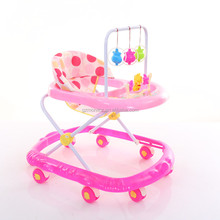Factory wholesale inflatable baby walker Popular baby walker with safety belt pink color baby walker bicycle for girls