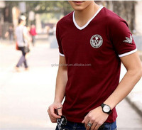 2015 Summer Fashion T Shirt Men Cotton Short Sleeve V-neck Slim Branded Tee Dri Fit Shirt