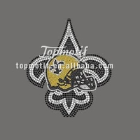 New Orleans Saints Football Helmet with Fleur de Lis Rhinestone Transfer