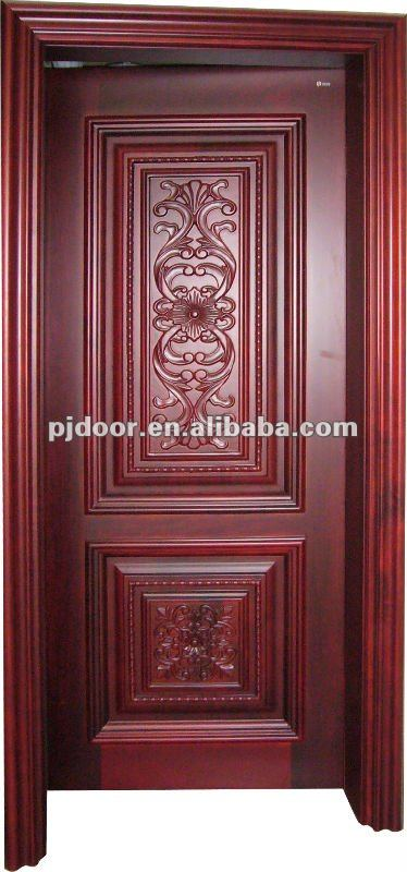 Mahogany carved solid wood door YHSW-102 (Any wood species can produce)
