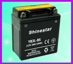 China long life 12 Volt 3 AMP battery for motorcycle YB3L-BS With factory direct price