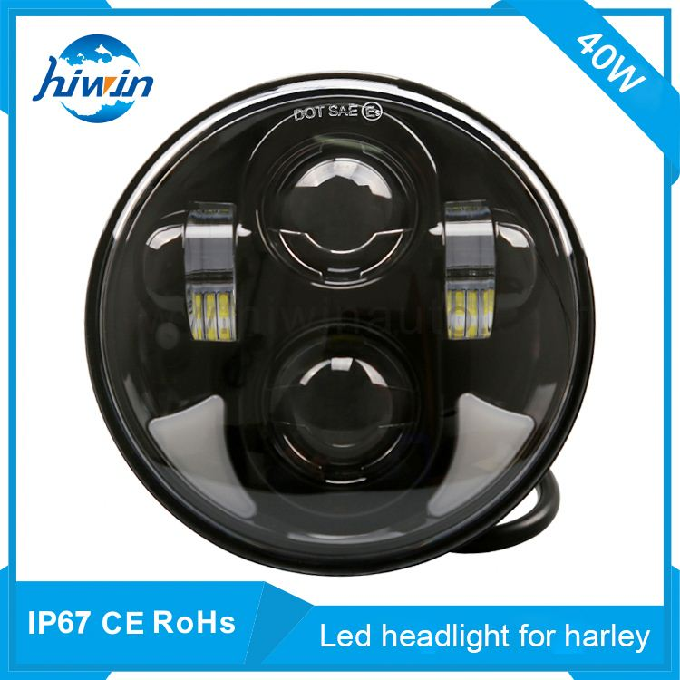 5.75inch 40W C-ree leds high/low beam led headlight chrome bezel for harley motorcycle front light