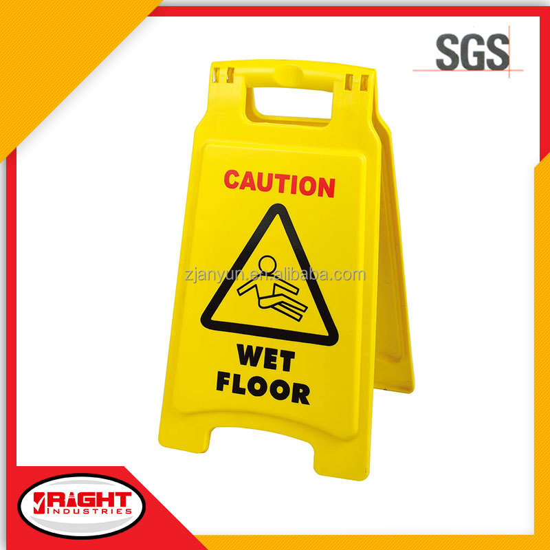 7602 Hard Wearing Bright Yellow Wet Floor Plastic Open Closed Signs