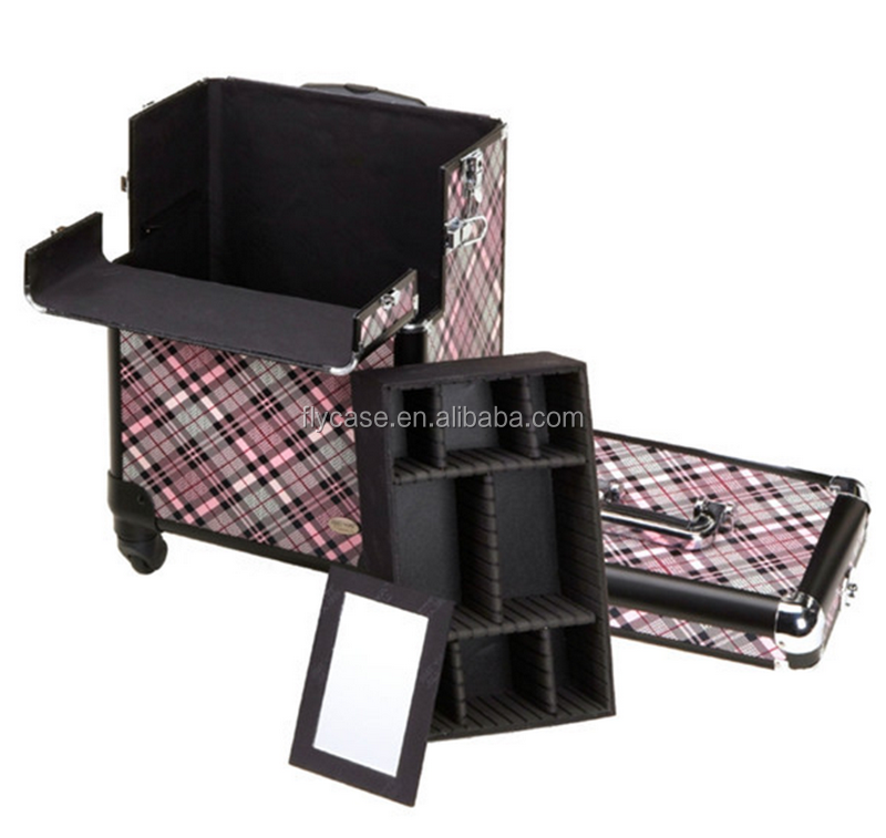 2015 novelty design and hot selling aluminum make up trolley case