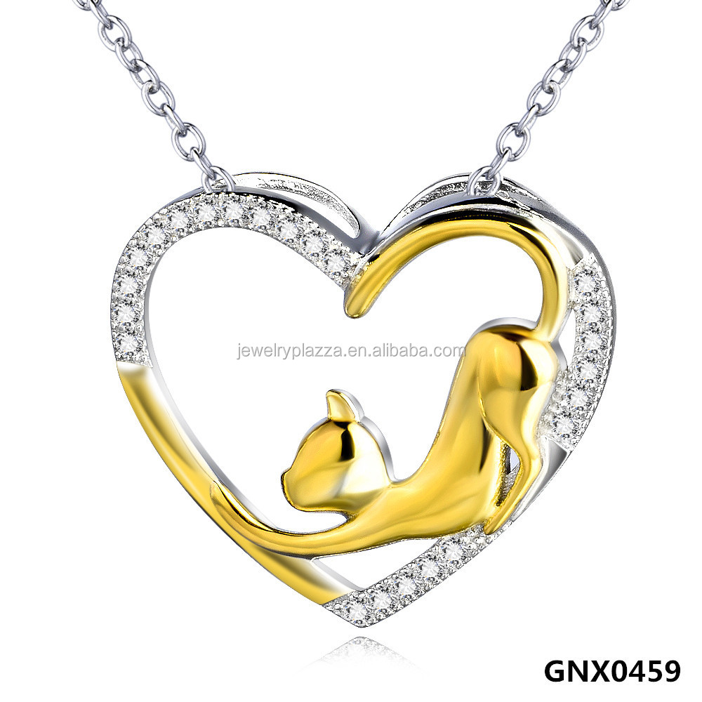 Fashion Gold Plated Jewelry,925 Sterling Silver Cubic Zirconia Heart Necklace, Gold Plated Cat Charm