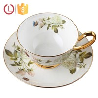 Cheap porcelain tea cup and saucer for gift