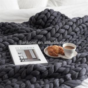 The Giant Oversized merino wool blanket Chunky Knit Throw wool Blanket