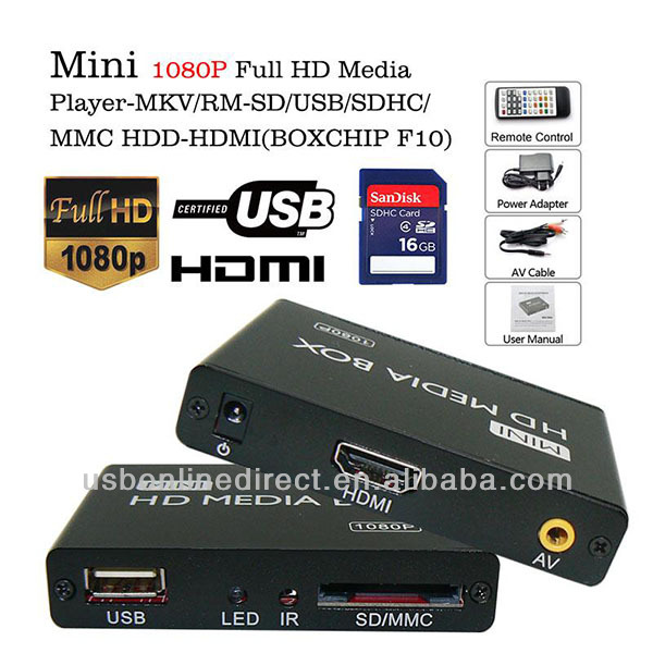 Mini 1080P SD USB HDD HDMI media player box with folder repeat playing fuction