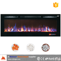 "60"" recessed/wall mounted 2 sided electric fireplace heater"