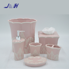 Pink flower pattern ceramic bathroom accessory set for home