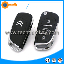 3 button remote car flip key cover with 206 blade for Citroen DS car key shell replacement