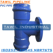 TAWIL EN545/ISO2531 Ductile iron all push on joint tee for PVC pipe