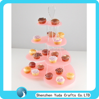 4 5 tier decorative cake stand, pink round dessert cake stand heart acrylic cupcake party wedding cup cake display show stand