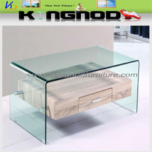 cheap 3 D oak paper MDF bent glass wood fashion coffee tables