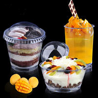Hot selling and popular food grade disposable plastic dessert cup with lid
