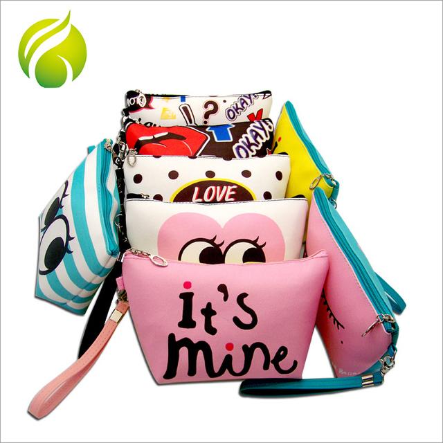 Fashion toiletry organizer holder storage travel funny makeup pu cosmetic bag