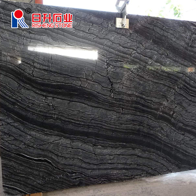 Chinese Classical Black Wooden Vein Marble