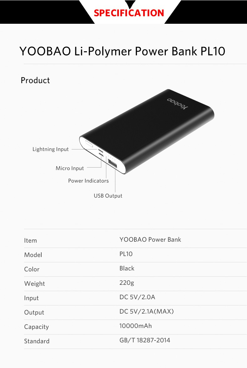 Cool Black Dual Input Slim Li-Polymer 10000mAh Power Bank