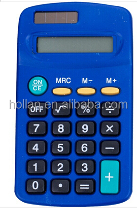 8 digits mini colored pocket calculator with solar power