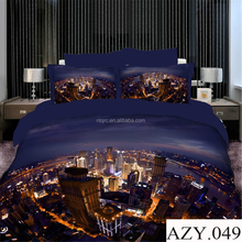 Reactive city printed bed duvets sets luxury 100% cotton brand bed set king size cheap 3d bedding set