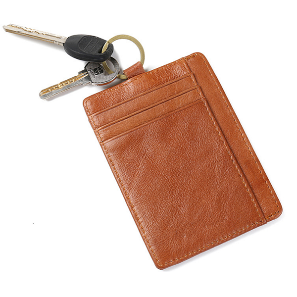 genuine leather credit card pvc window wallet with key ring