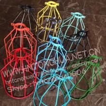 Colorful vintage industrial bird cage light fixture