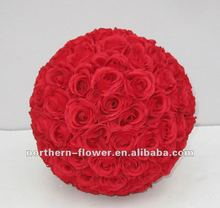 12'' best quality perfect silk rose ball for wedding decoration