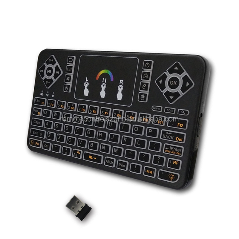 GHBQ9-RGB Backlit keyboard With Touchpad Q9 keyboard with Li Battery 2.4G Mini Q9 Wireless Fly Air Mouse Keyboards