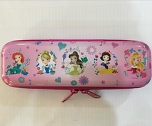 Korea Style Fashion Children Metal Tin Stationery Case Zippered Round Corner Tin Pencil Case