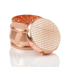 Checked Style Drum-shape Zinc Alloy Tobacco Spice Herb Grinder 4 Piece 2.5 Inch