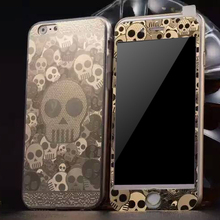 Custom brushed metal color cell phone covers TPU phone case + protective film phone skin for iPhone6