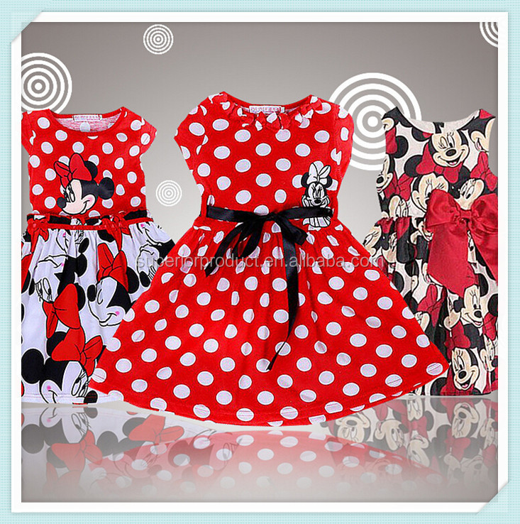 New Baby Casual Girls Cartoon Mouse Pattern Dots Dress High Short Sleeve Cotton Dresses Red Round Neck Dancing Costumes For Kids