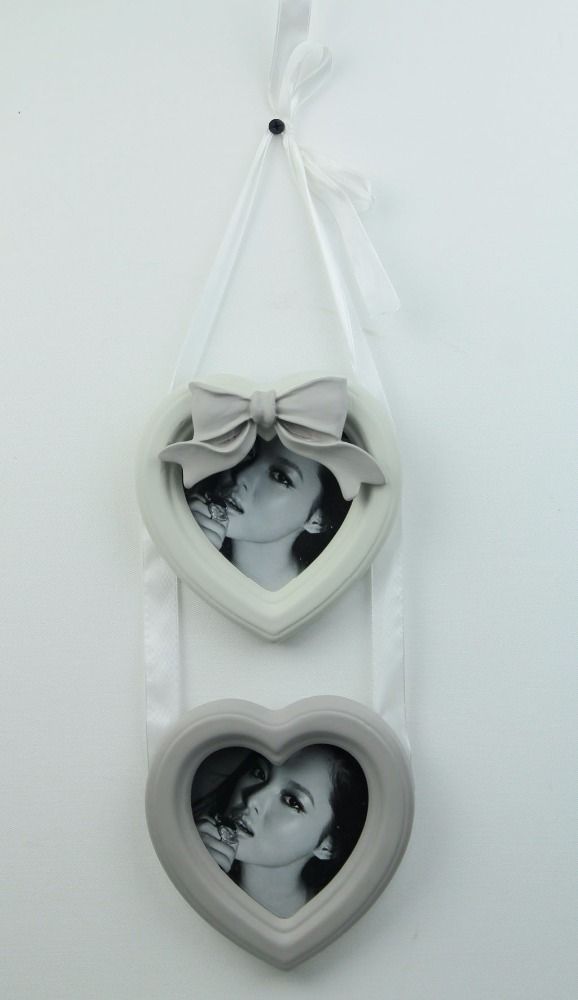 Wall Hanging Double Heart Photo Frames with Ribbon