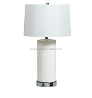 Modern white poly resin hotel table lamps with USB port and power outlet for hotel