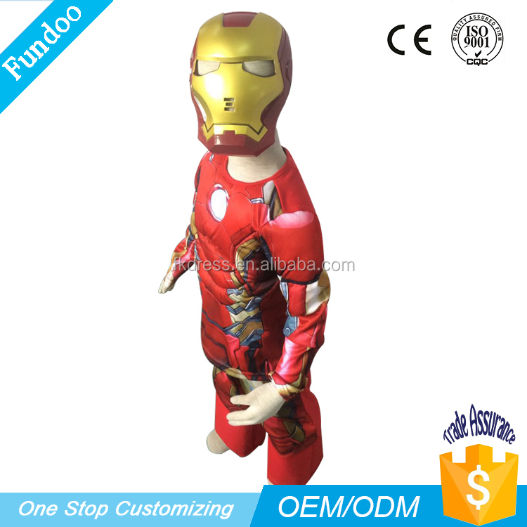 DC Comics Superhero Ironman costume Muscle Boy Robot Costume for kids