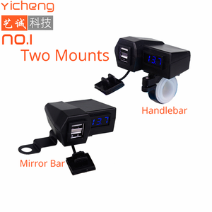 2 Ports Handlebar and Mirror Bar Mounting DC 12V Motorcycle USB Charger for Mobile Phone with Motorbike Voltmeter 5V 3.1A