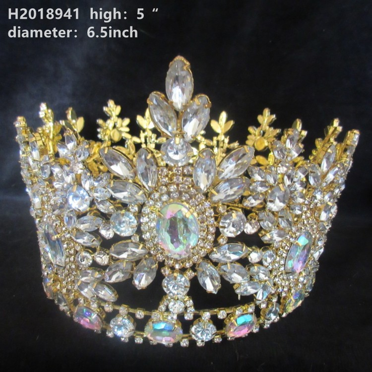 Glisten AB crystal rhinestone whole circle party tiara <strong>crowns</strong> happy birthday tiara <strong>crowns</strong>