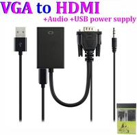 VGA to HDMI Converter Adapter Cable With Audio Output 1080P HDMI Female Adapter USB power supply For PC laptop to HDTV
