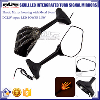 BJ-RM-066 Plastic Skull Hand Design Blinkers Rearview Motorcycle Mirror With LED Light For Yamaha R3 R25