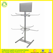 Height adjustable 2 tier metal spinning counter top POS display rack