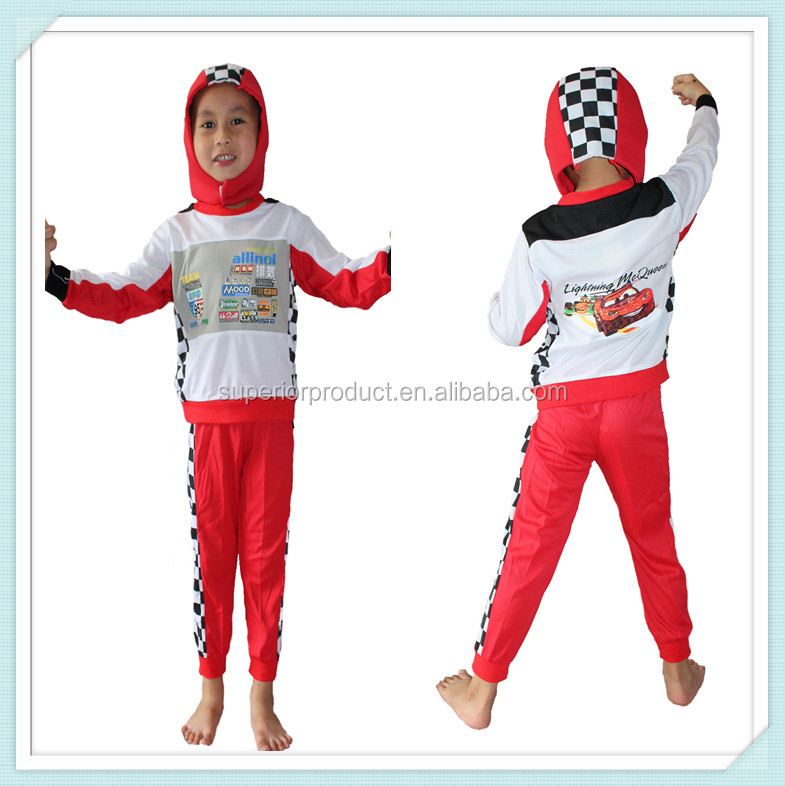 child red Motorcycle racing suit costume children's racing cars performance costumes red competition jazz wear