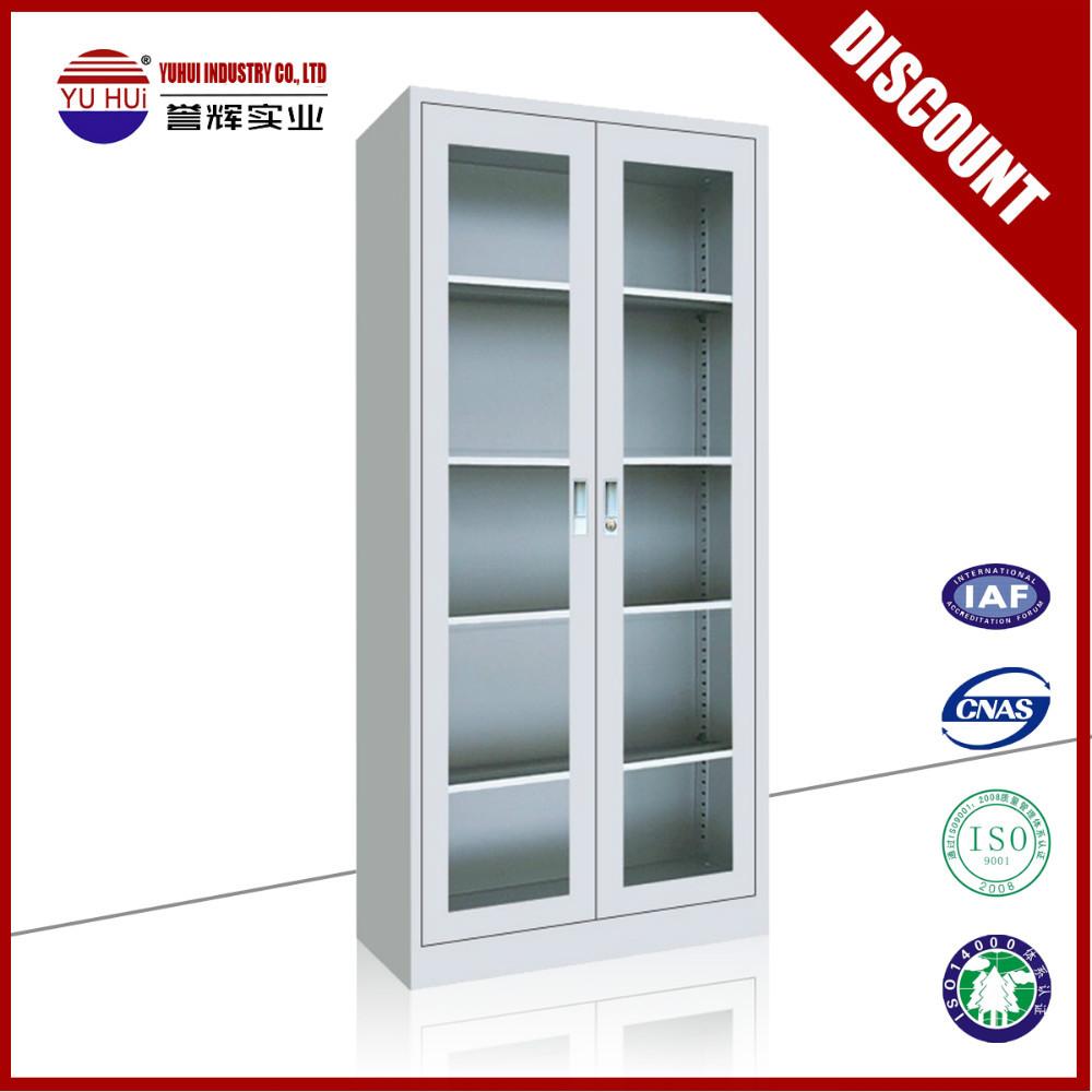 Factory Direct Sales Glass Door File Cabinet Metal 2 Glass Door