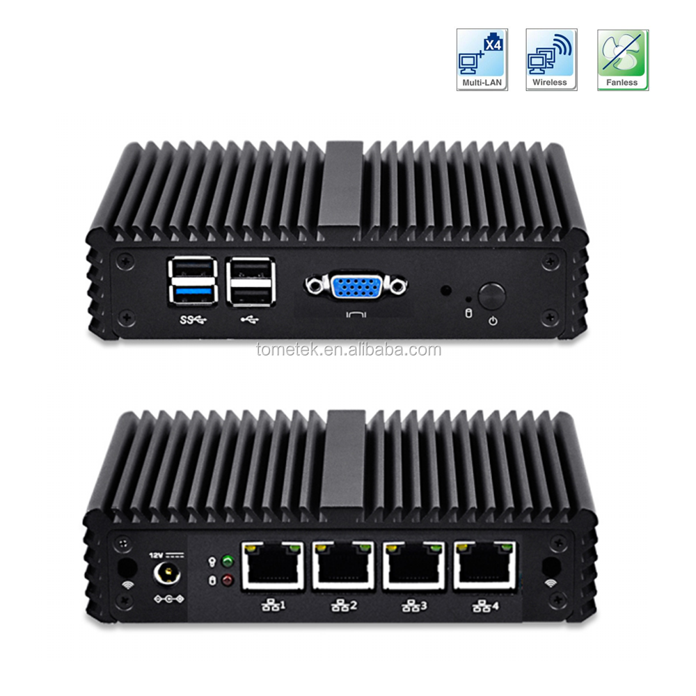 J1900 fanless industrial mini pc quad nic