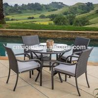 2017 Trade Assurance Top sale Dome Glass Top Series Table and 4 chairs rattan wicker dining set furniture