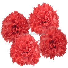 Red color 8inch 20cm tissue paper flowers for wedding bedroom decoration