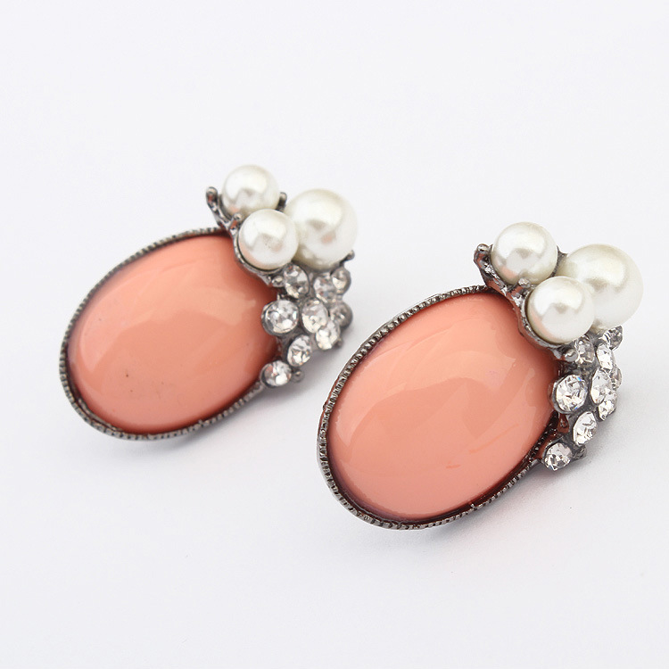 Fashion earring designs new model vintage women acrylic crystal oval earring pearl