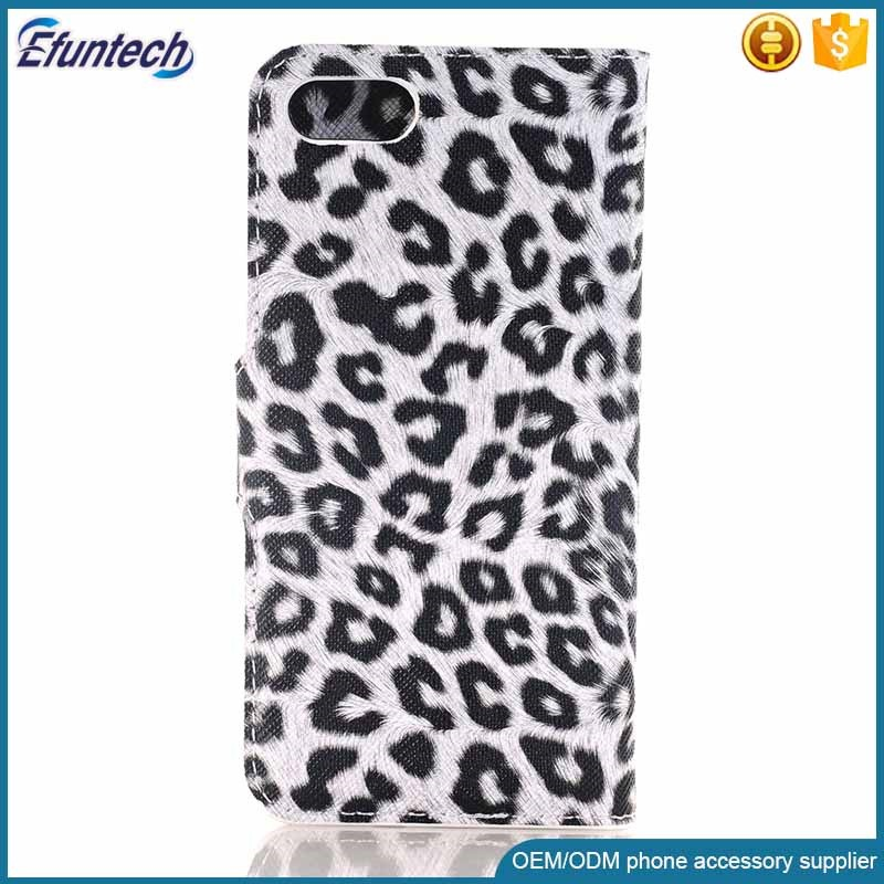 Cheap price leopard wallet flip phone case for iphone 7 plus cover
